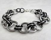 Luka - Unisex Chainmaille Bracelet - Silver and Black - Chainmaille Jewelry - Rocker Jewelry - Rocker Chic - Mens Bracelet Womens Bracelet