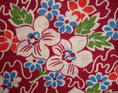 "Vintage Cotton Fabric - Burgundy with White, Blue, Green, and Orange Flowers, 35.5"" x 2 Yards"