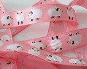 SHEEP Print Fabric Ribbon Trim (Pink)