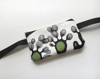 Black and White Scribble Trees- Fanny Pack/ Bike Bag/Hip Bag/ Hip Belt/ Utility Belt