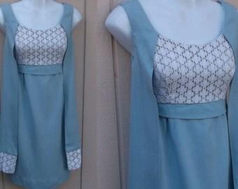 60s Vintage Pastel Blue Empire Waist Dress / Mod Sheath // Size XS 0 2 32 Bust