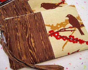 Wedding Clutch, gift pouch 2 pockets,medium, wristlet, cotton- Sparrow bark wood grain