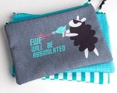 Zipper Bag, Ewe will be Assimilated, Borg sheep, Star Trek