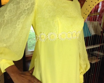 Vintage Yellow Chiffon Daisy Lace Gown