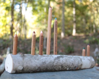 Waldorf Inspired Tree Branch Pencil Holder Large Style Ferby Pencils