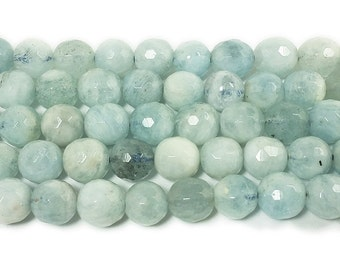 Aquamarine Faceted Gemstone Beads