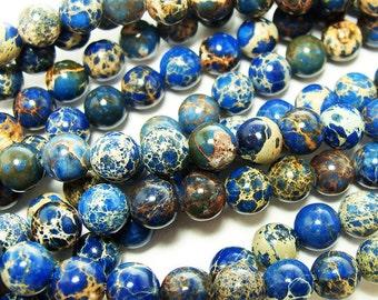 Blue Imperial Jasper Round Gemstone Beads