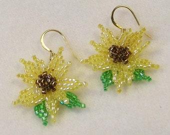 SALE Beadwoven Sunflower Earrings