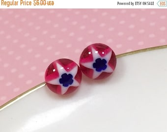Red White and Blue Studs, Patriotic Star Studs, Small Resin Studs, Little Star Studs, Blue Flower Earrings, KreatedByKelly