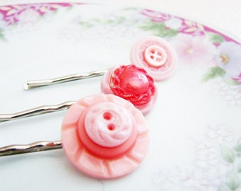 Pink Hair Accessories, Pink Bobby Pins, Pink Hair Pins, Shabby Chic Vintage Button Bobby Pins, Handmade by KreatedByKelly