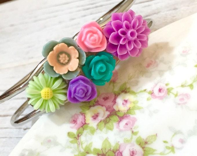 Featured listing image: Floral Assemblage Cuff Bracelet, Pastel Flowers Cuff Bracelet, Woodland Bracelet, Nature Bracelet, Pink Purple Mint Green, KreatedbyKelly