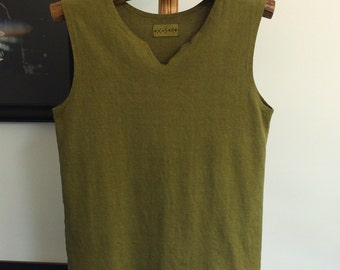 mens v-neck hemp tank top - hand dyed in moss green - size medium - hemp and organic cotton