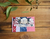 Fabric Postcard - Upcycled Collage - One of a kind - Handmade - Multi coloured - Floral Stripes BoHo Shabby Chic