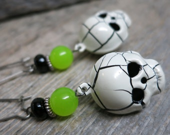 Trick or Treat - Skulls earrings ... spooky goblin skulls / onyx / green jade