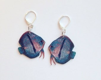 Handcrafted Plastic Heckel Discus Fish Earrings USA Made