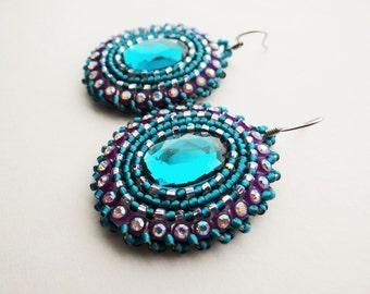 Teal & Purple Beaded Earrings