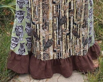 Owls in the Woods Flannel Skirt