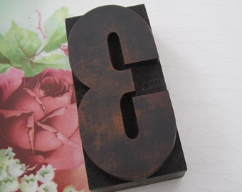 Antique Letterpress Wood Type Printers Block Number Three 3
