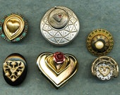 6 Love brooches, brooches with hearts, love jewelry, pins with heats, collection of 6 pins, collections of 6 brooches, valentines, hearts
