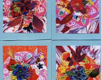 The Bouquet Cards, 4 greeting cards, envelopes, floral designs, flowers, gift cards, cards, botanical cards, embellished with sequins, blank