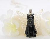 Winged Black Bunny Rabbit Necklace Angel - Winged Bunny Pendant - Bunny Rabbit Jewelry - Bunny Necklace