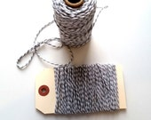 Grey & White 12 Ply Bakers Twine - 10 Yards for packaging, artwork, collage, assemblage