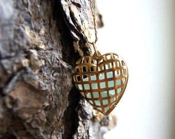 Heart Locket Necklace - vintage brass locket - beach glass necklace - Heart Necklace - Cage Heart Locket - heart jewelry - Valentine's Day