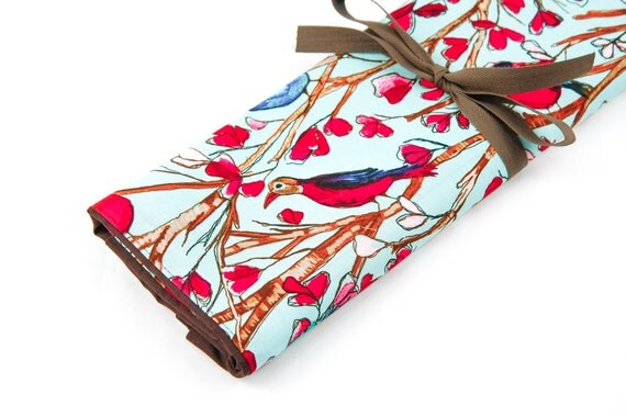 Large Knitting Needle Case - Wind Song - 30 brown pockets for all sizes or paint brushes