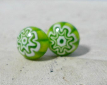 millefiore Earrings - fused glass earrings - millefiore glass post earrings -green and white starburst flower -  jewelry -  stud earrings