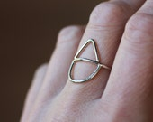 Moon and Peak Ring, Geometric Statement Ring, Sterling Silver Ring, Argentium Silver Band, Geometric Jewelry, Modern Silver Ring