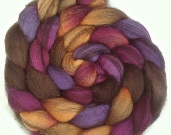 Handpainted Heathered BFL Roving - 4 oz. CROCUS - Spinning Fiber