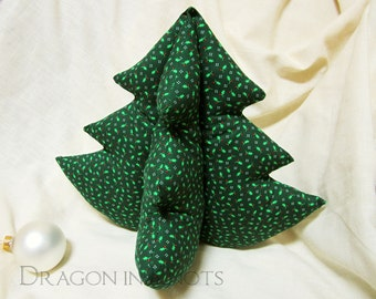 Stuffed Fabric Christmas Tree - Dark Green Plush Holiday Tree Decoration Centerpiece, Holly Leaves and Red Berries- 12 inch, 31cm