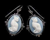 Cameo Cat Earrings Blue and White Sterling Silver Earwires
