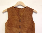 Vintage 70's Cropped Suede Hippie Vest Tan Small - XS
