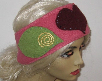 folk headband . embroidered folk headband . boiled wool headband . felted headband .  heart headband