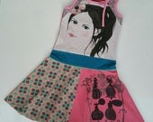 Size 10 (55 inch height) upcycled girls dress girl