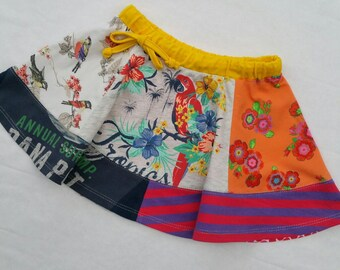 Size 4T (41  inch height) upcycled thirts panel twirl skirt tropical