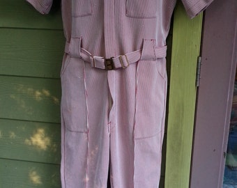 Vintage 70s Francis Peewee Herman Striped Mr. Roper Lounge Suit Zip Up Polyester Jumpsuit Size