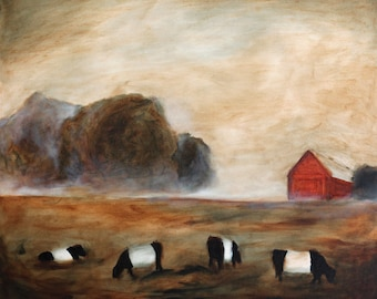 Cows Grazing - art print of original oil painting Belted cows art PRINT