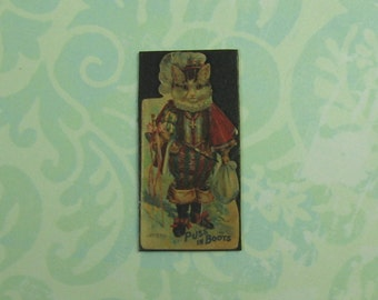 Dollhouse Miniature Puss In Boots Wall Plaque
