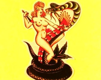 Pinup Girl and Cobra Snake Old School Tattoo Rockabilly Sailor Jerry Style Vinyl Sticker