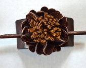 Leather Pony Tail Stick with 3D Leather Flower