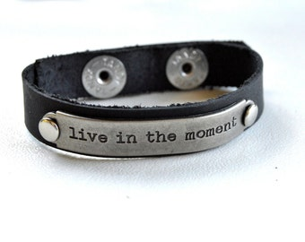 Word Bracelet, Metal Plate on Leather Inspirational