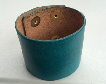 "Leather Cuff Wristband Blank, 2"" Wide.Turquoise"