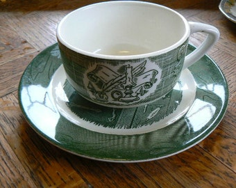 SALE Vintage Pie Plate and Cup Colonial Homestead by Royal China