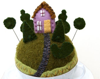 Teacup Pincushion Tiny World make-do House in a Topiary Garden