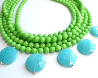 The Caroline- Green and Blue Jade Statement Necklace