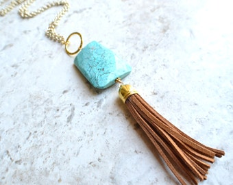 Maggie - Turquoise Pendant Brown Tassel Gold Chain Long Necklace