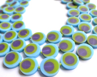 The MoMa- Green, Purple and Blue Resin Statement Necklace