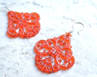 The Marrakesh- Sienna Lucite Chandelier Earrings